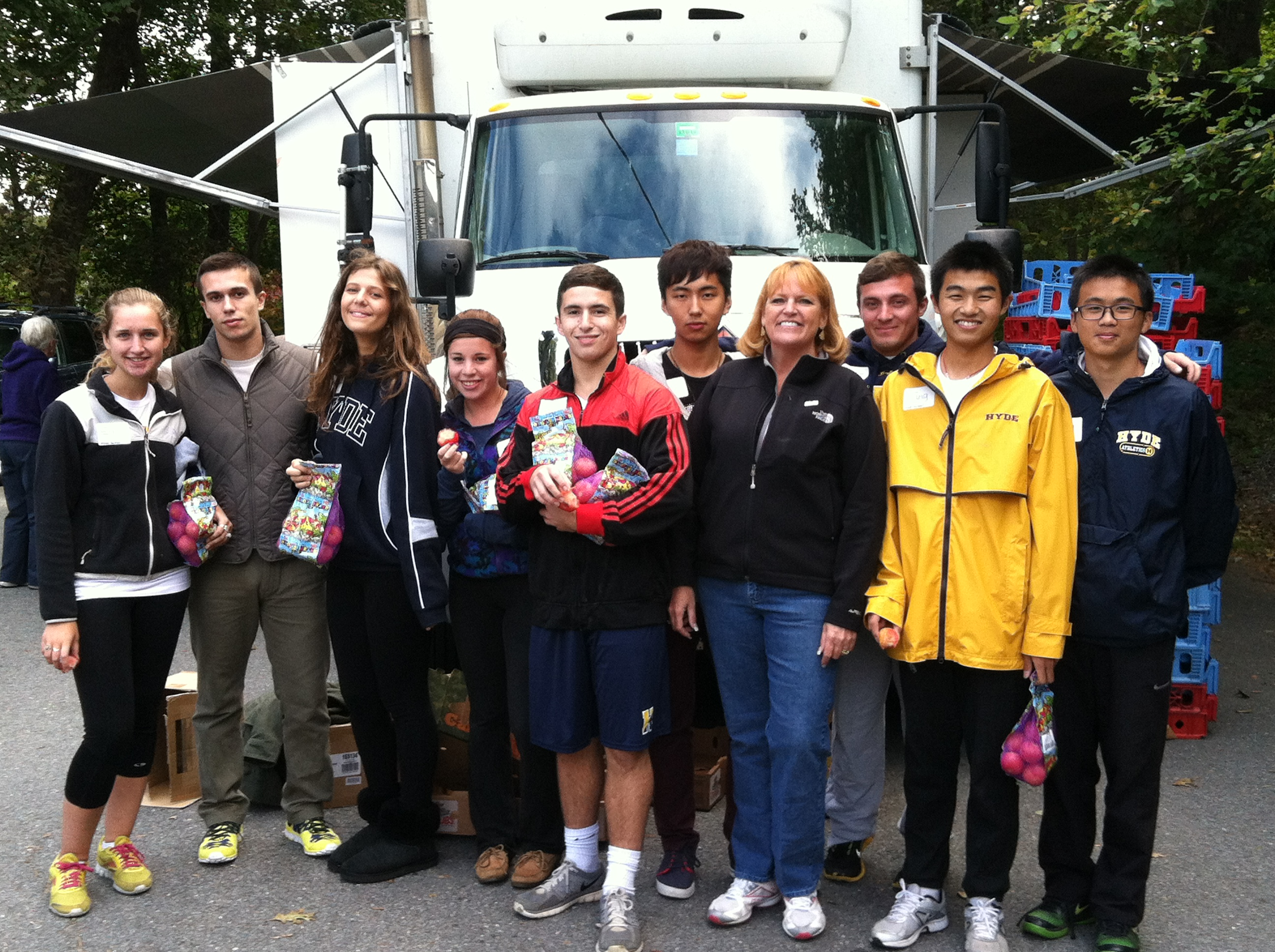 Hyde School Students helping at Food Truck